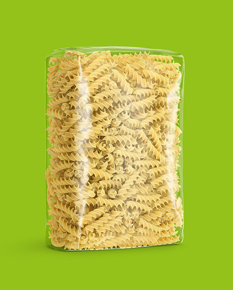 Plastic Bag With Fusilli Pasta Mockup