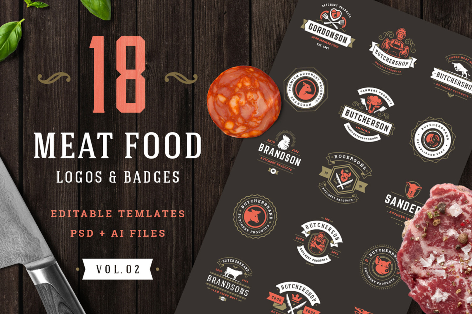 18 Meat Food Logos and Badges