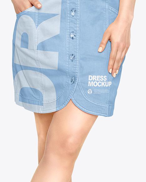 Woman in a Jeans Dress Mockup