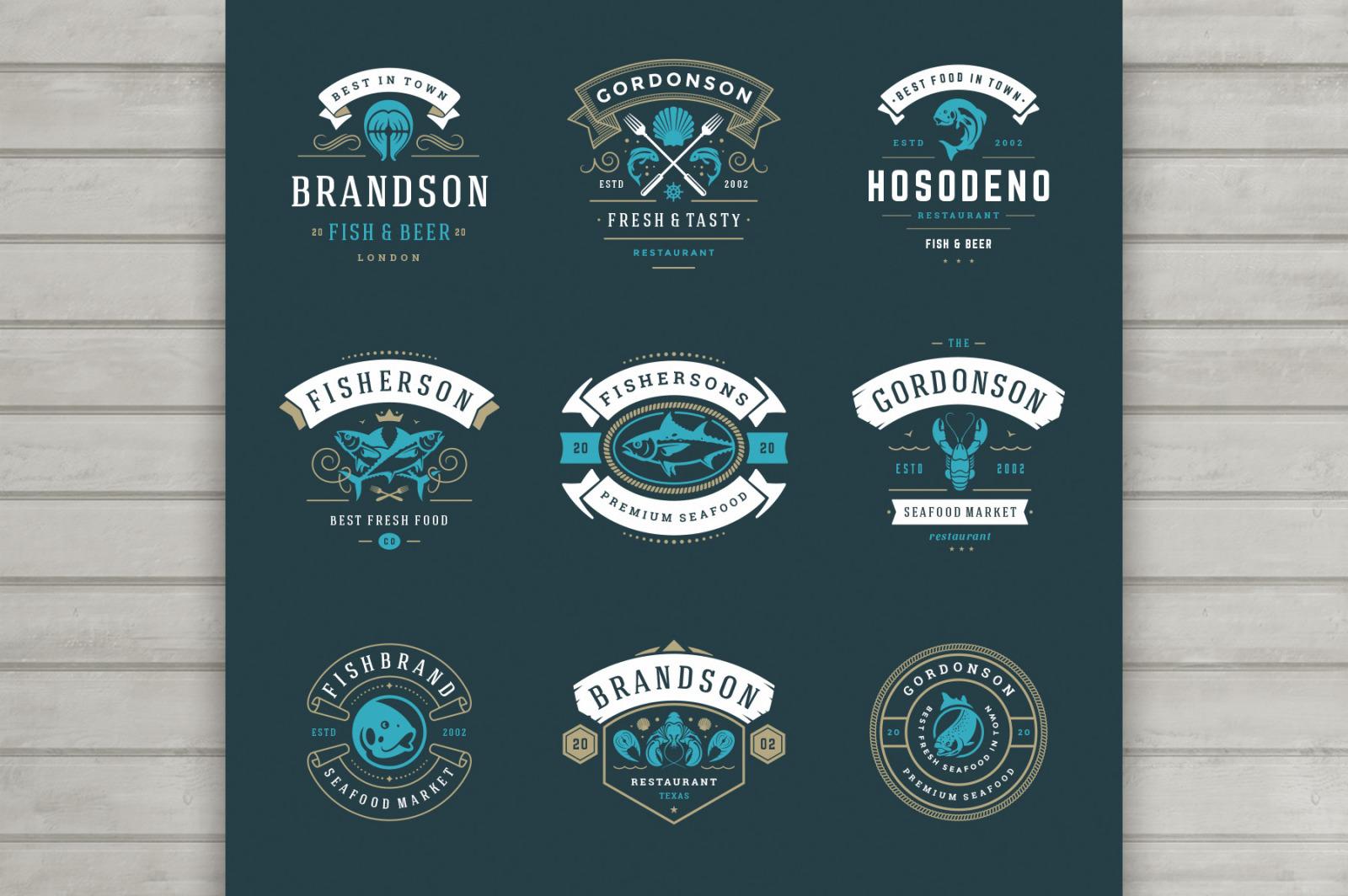 18 Seafood Logos & Badges