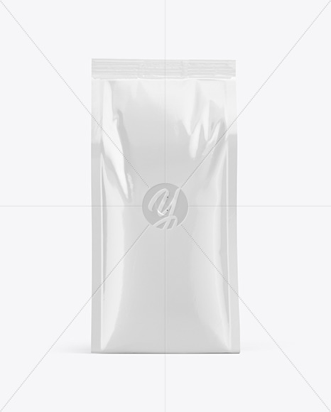 Glossy Coffee Bag Mockup - Front View