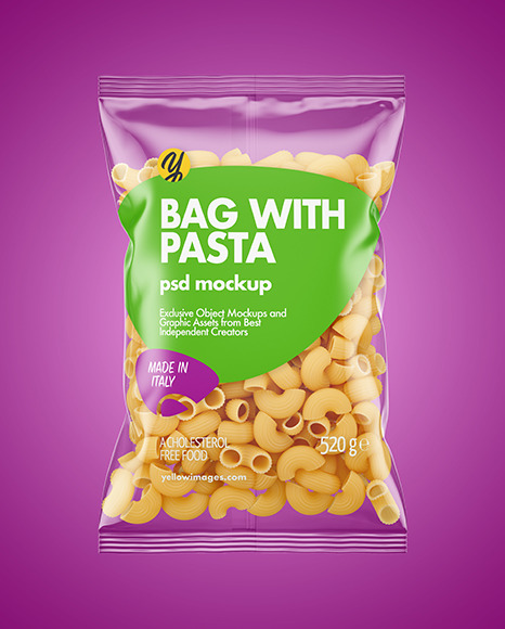 Plastic Bag With Pipe Rigate Pasta Mockup