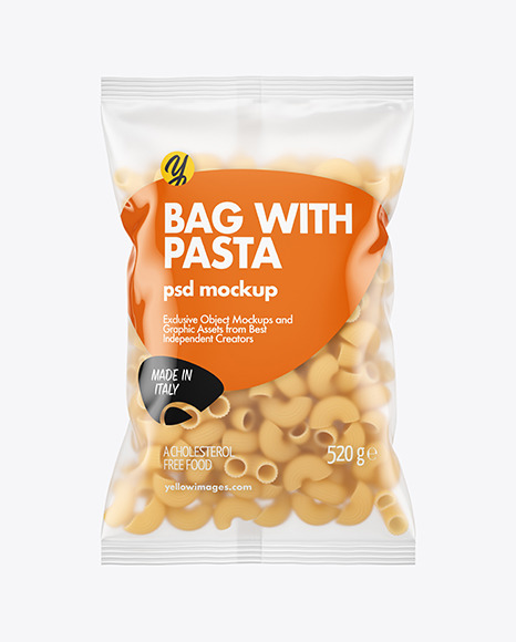 Matte Plastic Bag With Pipe Rigate Pasta Mockup