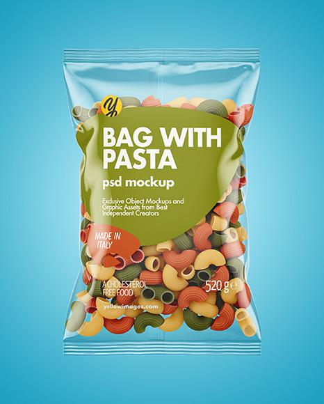 Plastic Bag With Tricolor Pipe Rigate Pasta Mockup