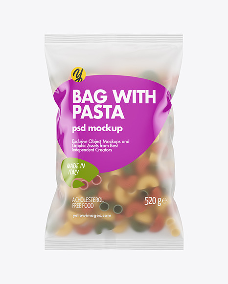 Frosted Plastic Bag With Tricolor Pipe Rigate Pasta Mockup