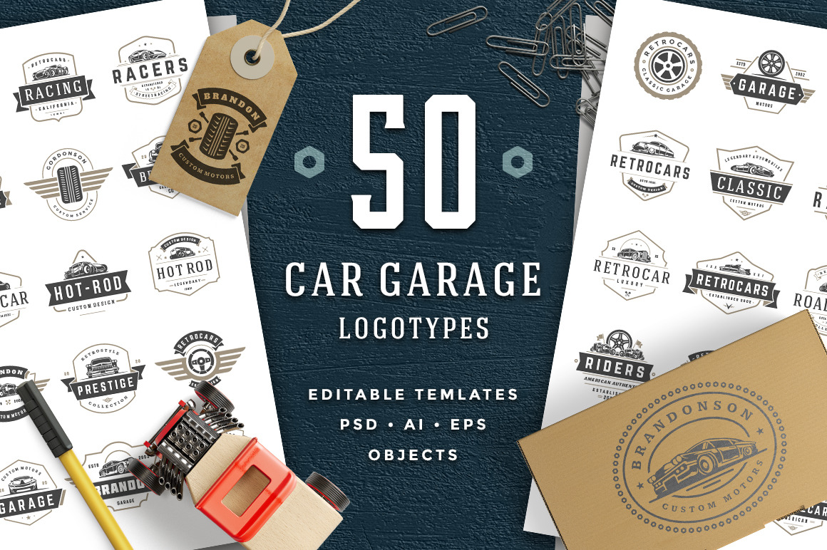 Car Garage Badges Logos In Logo Templates On Yellow Images Creative Store