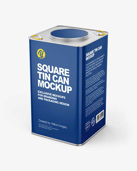 Glossy Square Tin Can Mockup