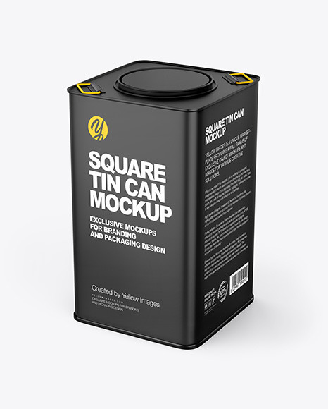 Matte Square Tin Can Mockup