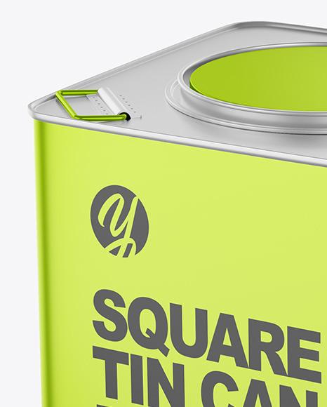Metallic Square Tin Can Mockup