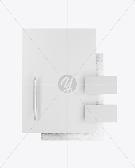 Business Cards & A4 Paper With Marble Mockup
