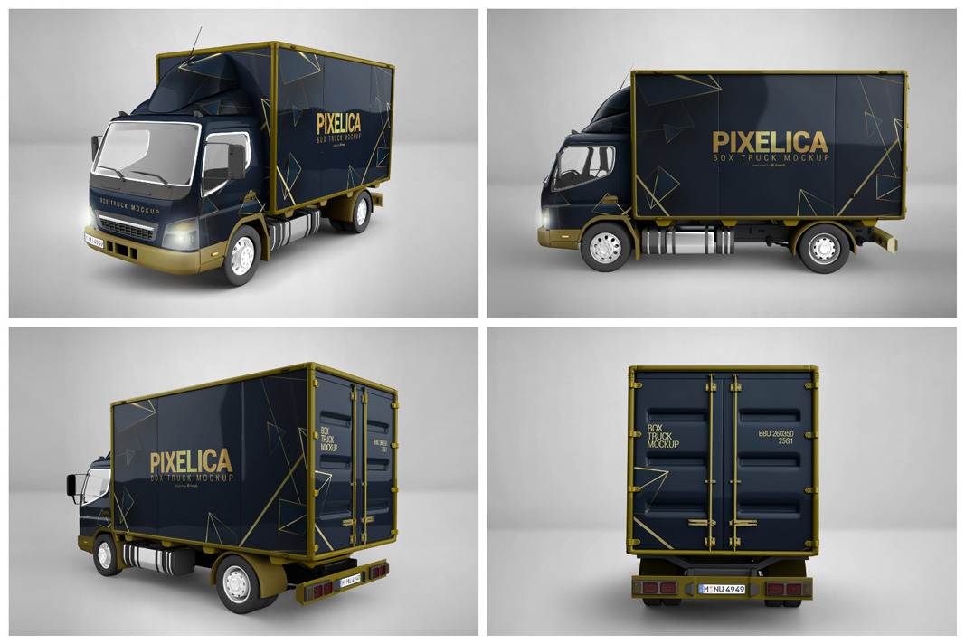 613+ Free Box Truck Mockup Download Free