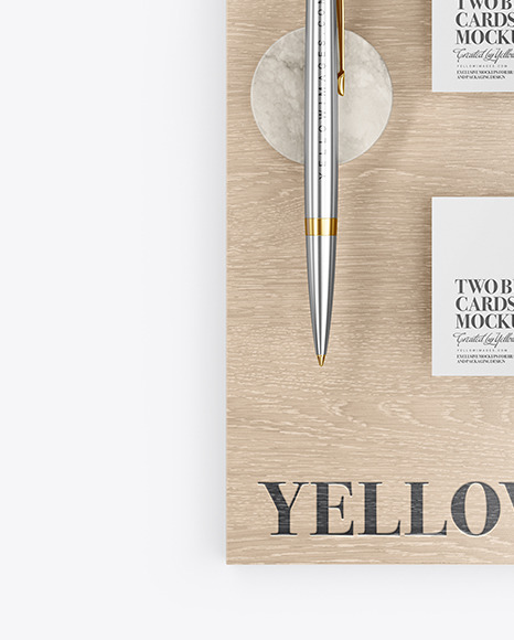 Two Business Cards & Pen with Wood Mockup