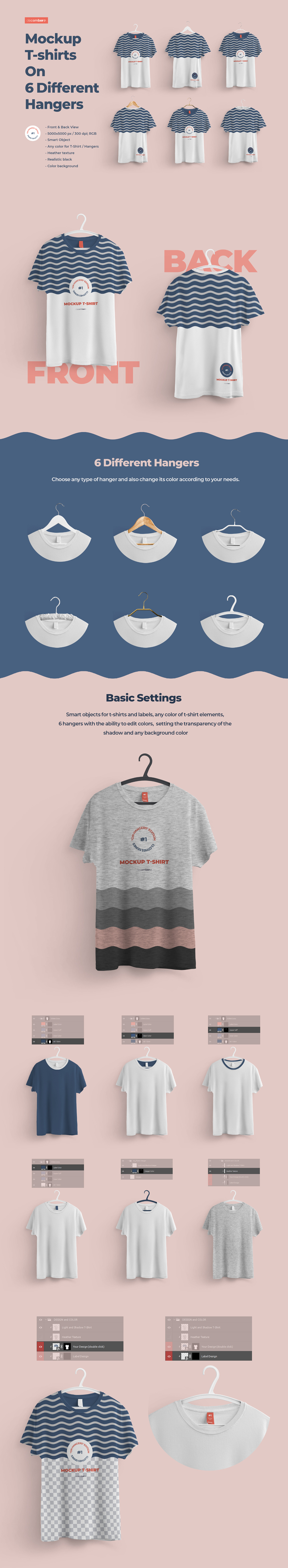 Download Front And Back T Shirts Mockup With 6 Different Hangers In Apparel Mockups On Yellow Images Creative Store PSD Mockup Templates