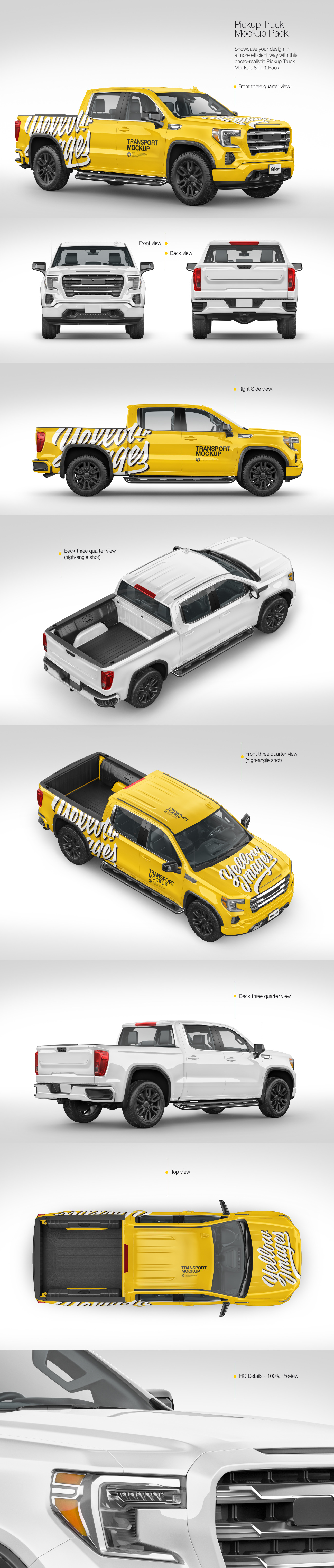 Download Pickup Truck Mockup Pack In Handpicked Sets Of Vehicles On Yellow Images Creative Store Yellowimages Mockups