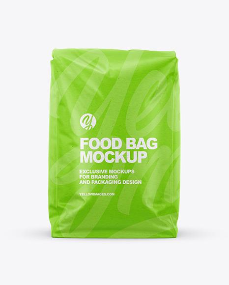 Download Kraft Food Bag Mockup Front View In Bag Sack Mockups On Yellow Images Object Mockups PSD Mockup Templates
