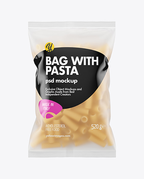 Download Frosted Plastic Bag With Tortiglioni Pasta Mockup in Bag ...