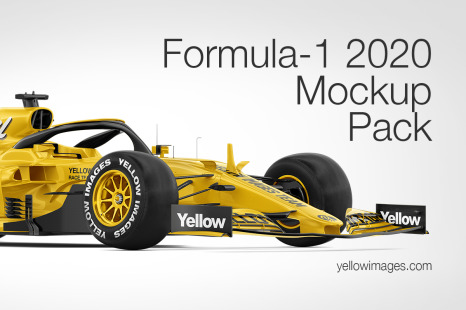 Download Formula 1 2020 Mockup Pack In Handpicked Sets Of Vehicles On Yellow Images Creative Store PSD Mockup Templates