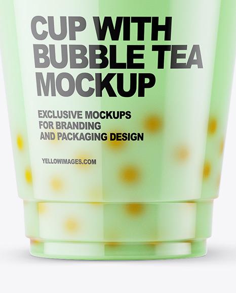 Milk Bubble Tea Cup Mockup