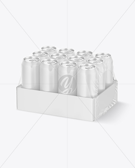 Transparent Pack with 12 Matte Cans Mockup