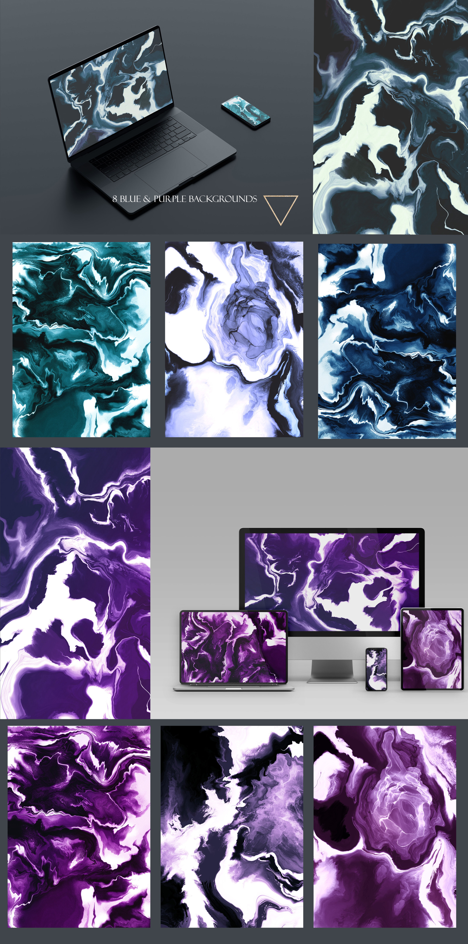 Fluid Modern Marble Ink Collection, 27 Abstract Paint Flow Textures