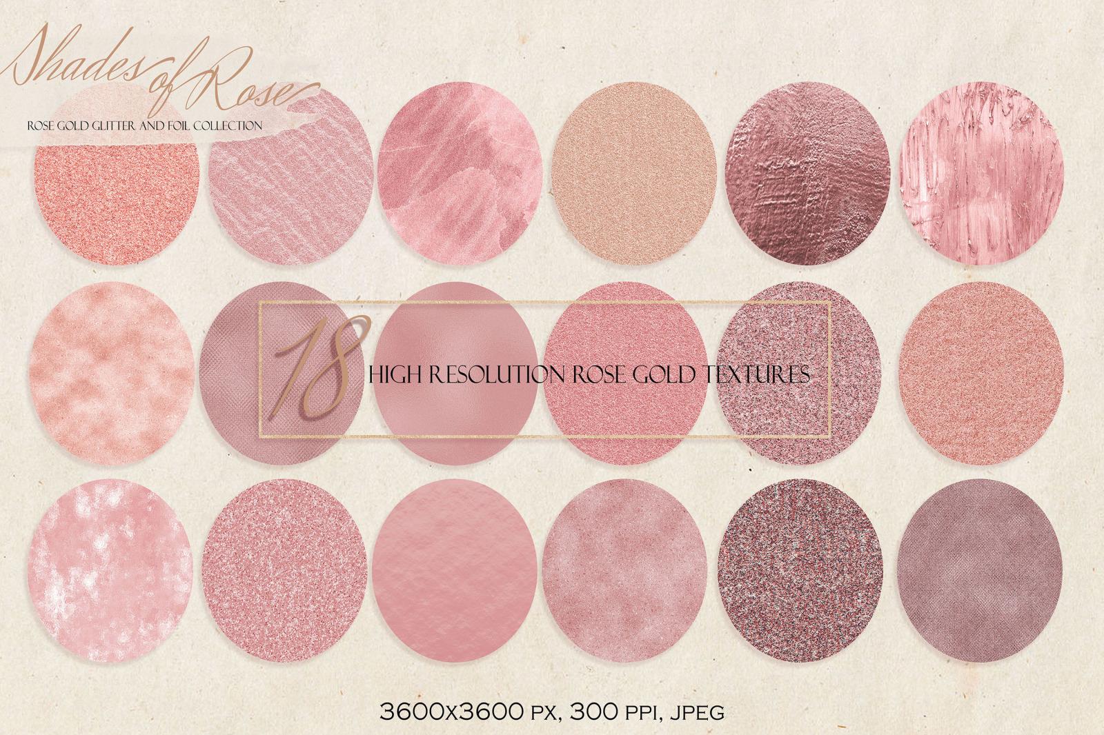 Rose Gold Glitter and Foil Set. 18 Rose Gold Metallic Backgrounds