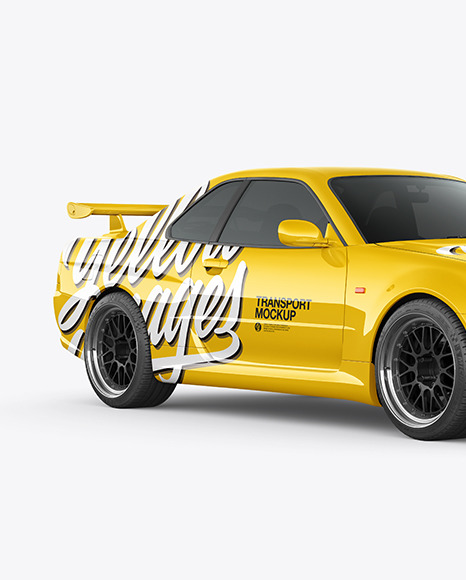 Download Sport Car Mockup Half Side View In Vehicle Mockups On Yellow Images Object Mockups PSD Mockup Templates