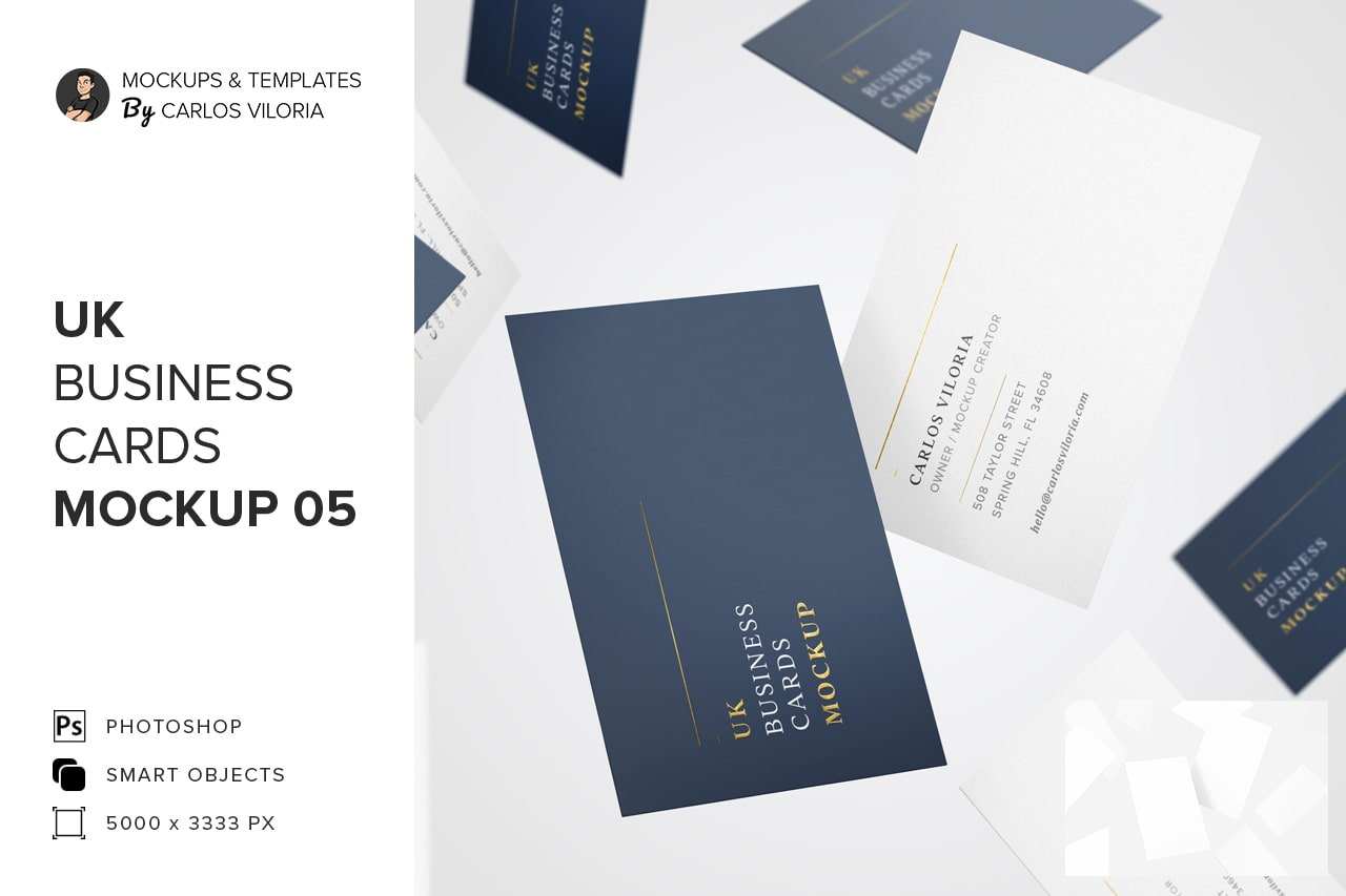 Download Uk Business Cards Mockup 05 In Stationery Mockups On Yellow Images Creative Store PSD Mockup Templates