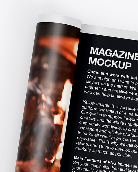 Download A4 Folded Magazine Mockup In Stationery Mockups On Yellow Images Object Mockups PSD Mockup Templates