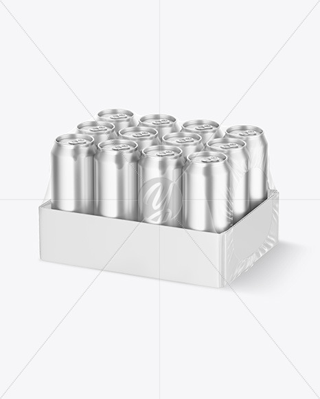 Transparent Pack with 12 Metallic Cans Mockup
