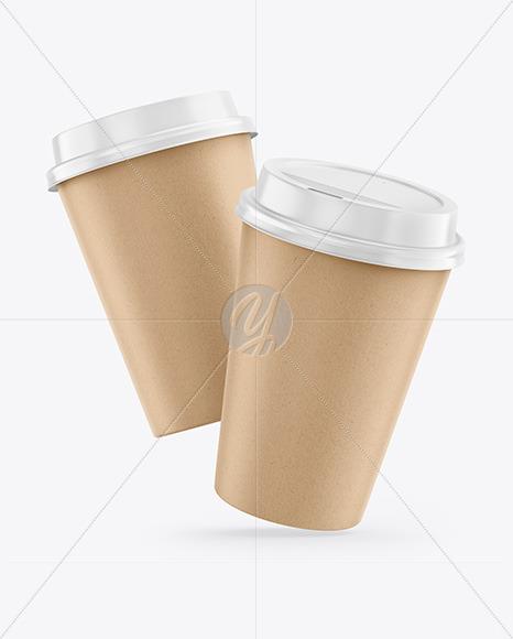 Kraft Coffee Cups Mockup