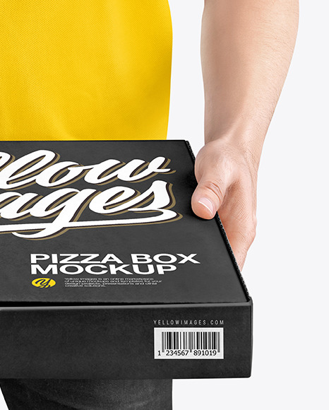 Download Delivery Man With Pizza Box Mockup In Box Mockups On Yellow Images Object Mockups PSD Mockup Templates