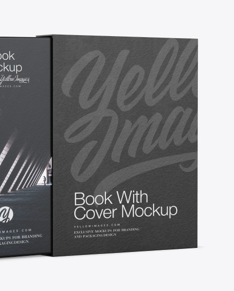 Download Hardcover Book With Paper Cover Mockup In Stationery Mockups On Yellow Images Object Mockups PSD Mockup Templates