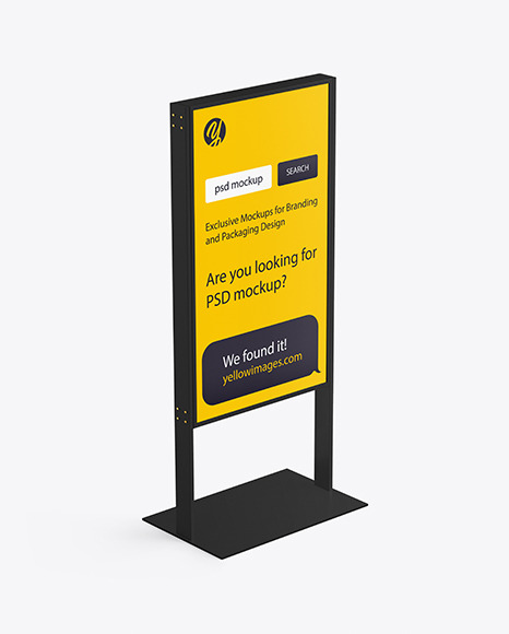 Download Stand Mockup In Outdoor Advertising Mockups On Yellow Images Object Mockups PSD Mockup Templates