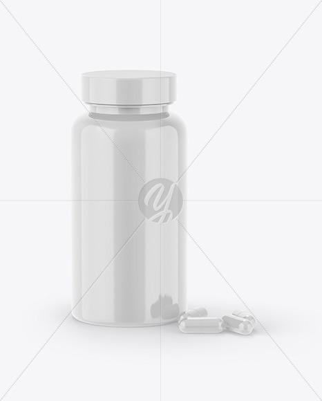 Glossy Plastic Bottle & Pills Mockup