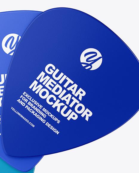 Three Plastic Standard Guitar Picks Mockup