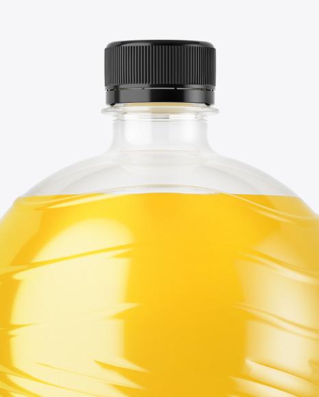 PET Bottle with Orange Drink Mockup