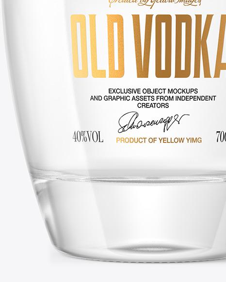 Download Clear Glass Vodka Bottle Paper Label Mockup PSD - Free PSD Mockup Templates