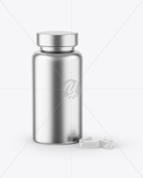 Metallic Bottle & Capsules Mockup
