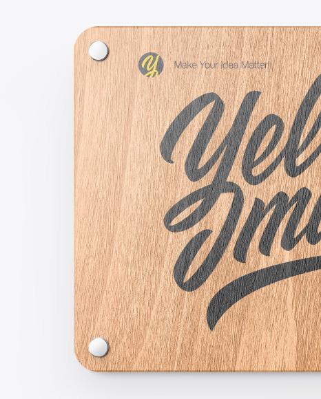 Wooden Nameplate Mockup