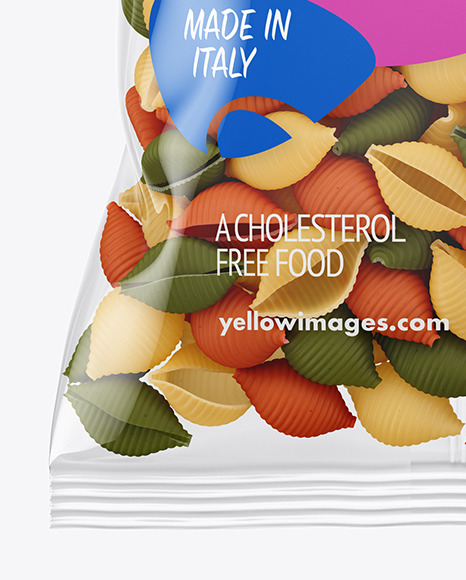 Download Frosted Plastic Bag With Tricolor Tortiglioni Pasta Mockup ...