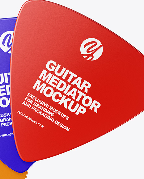 Three Plastic Triangle Guitar Picks Mockup