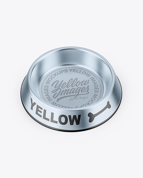 Metallic Pet Feeding Bowl Mockup