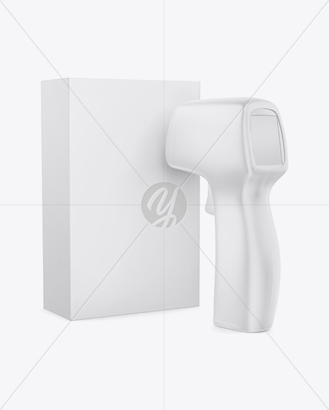 Non-contact Infrared Thermometer with Paper Box Mockup - Half Side View