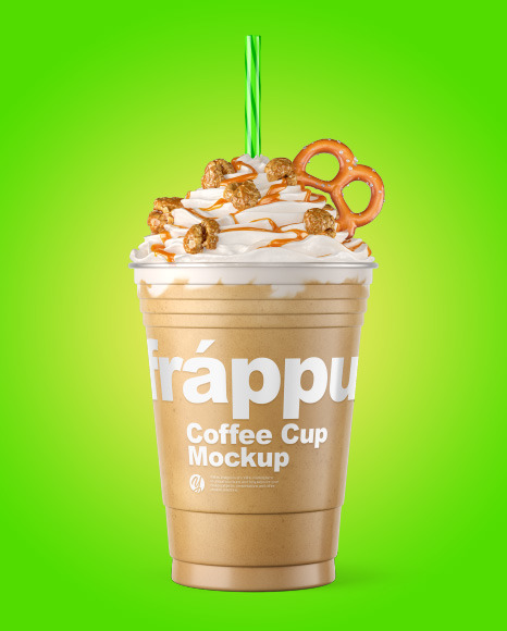 Coffee Cup Topped with Popcorn & Pretzel Mockup