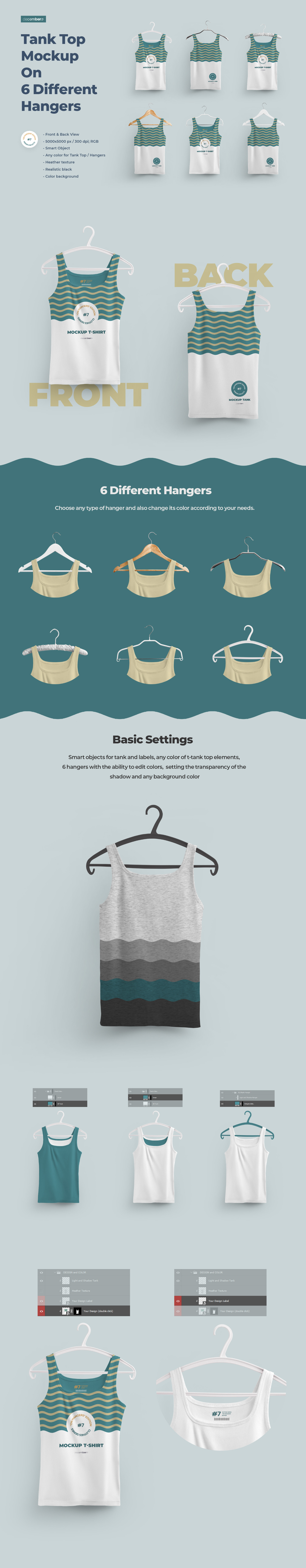 2 Mockups  Tank Top With 6 Different Hangers