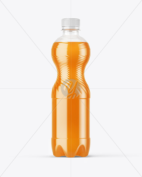 PET Bottle with Peach Drink Mockup