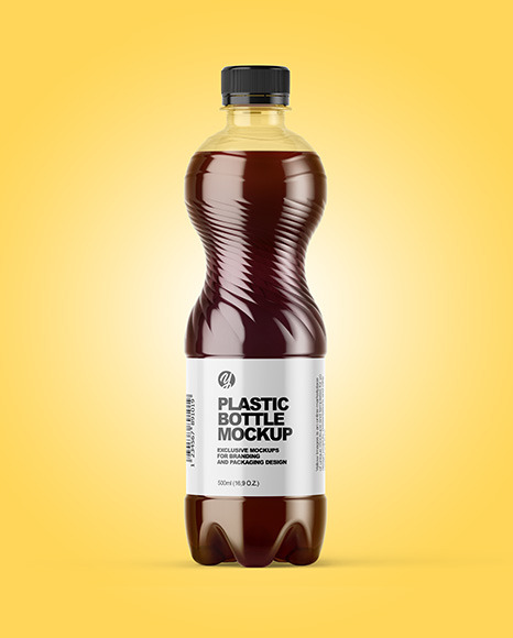 PET Bottle with Red Grape Drink Mockup