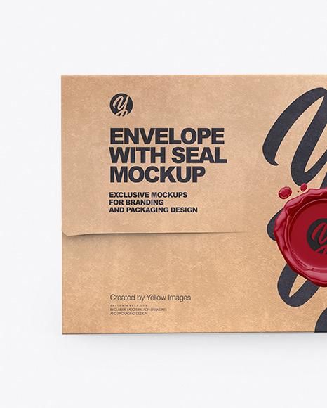 Kraft Envelope With Seal Mockup
