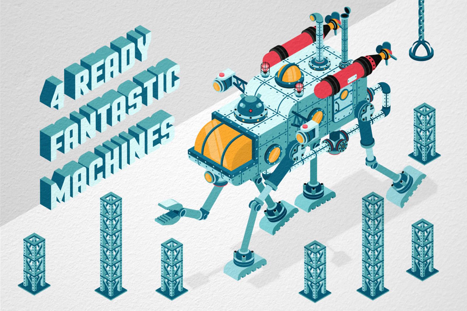 Isometric Machinery Construction Kit