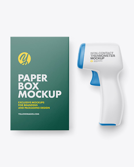 Non-contact Infrared Thermometer with Paper Box Mockup - Front View
